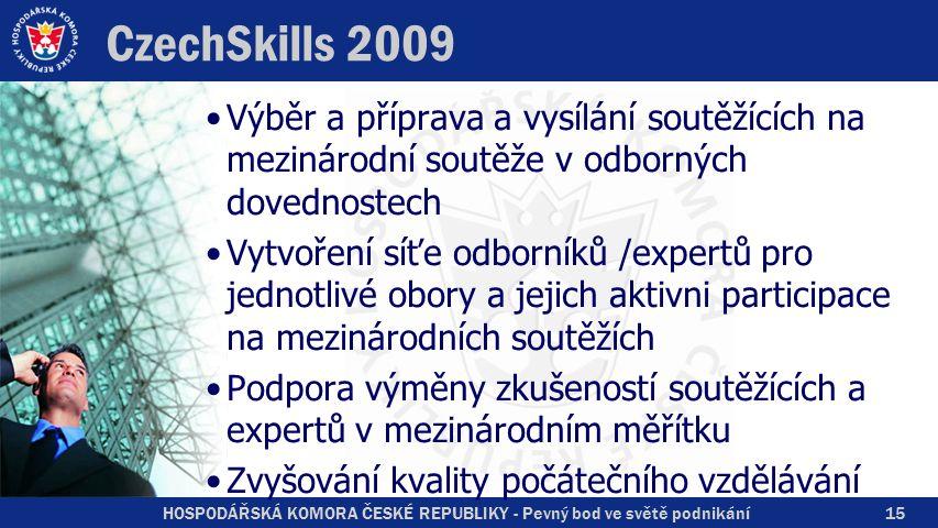 HOSPODÁŘSKÁ KOMORA ČESKÉ REPUBLIKY - Pevný bod ve světě podnikání CzechSkills 2009 Výběr a příprava a vysílání soutěžících na mezinárodní soutěže v od