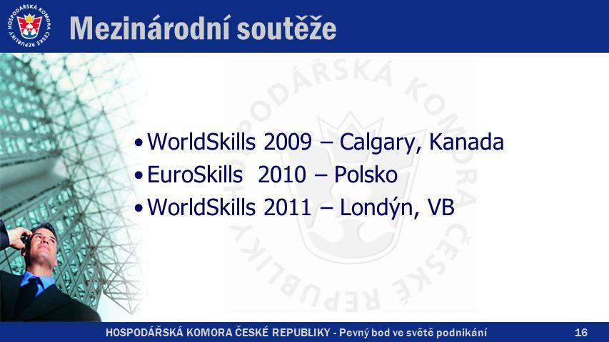 HOSPODÁŘSKÁ KOMORA ČESKÉ REPUBLIKY - Pevný bod ve světě podnikání Mezinárodní soutěže WorldSkills 2009 – Calgary, Kanada EuroSkills 2010 – Polsko Worl