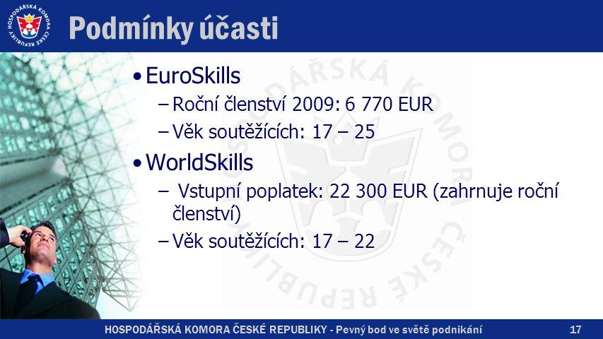 HOSPODÁŘSKÁ KOMORA ČESKÉ REPUBLIKY - Pevný bod ve světě podnikání Podmínky účasti EuroSkills –Roční členství 2009: 6 770 EUR –Věk soutěžících: 17 – 25