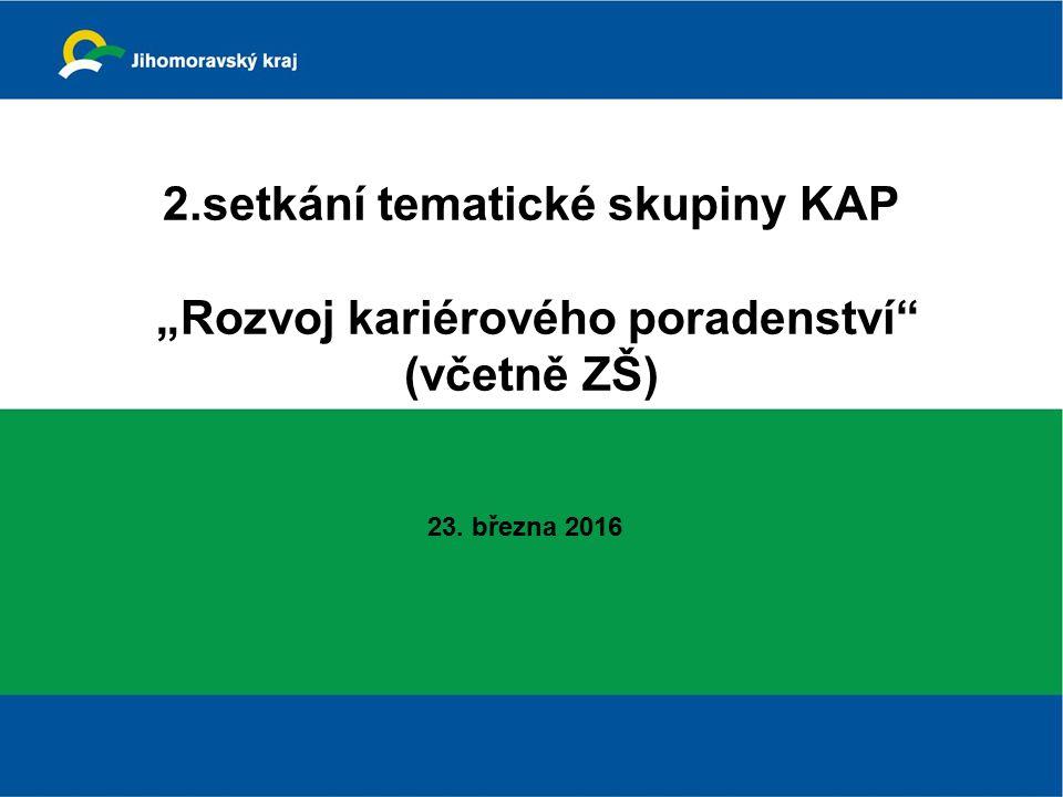 """2.setkání tematické skupiny KAP """"Rozvoj kariérového poradenství (včetně ZŠ) 23. března 2016"""