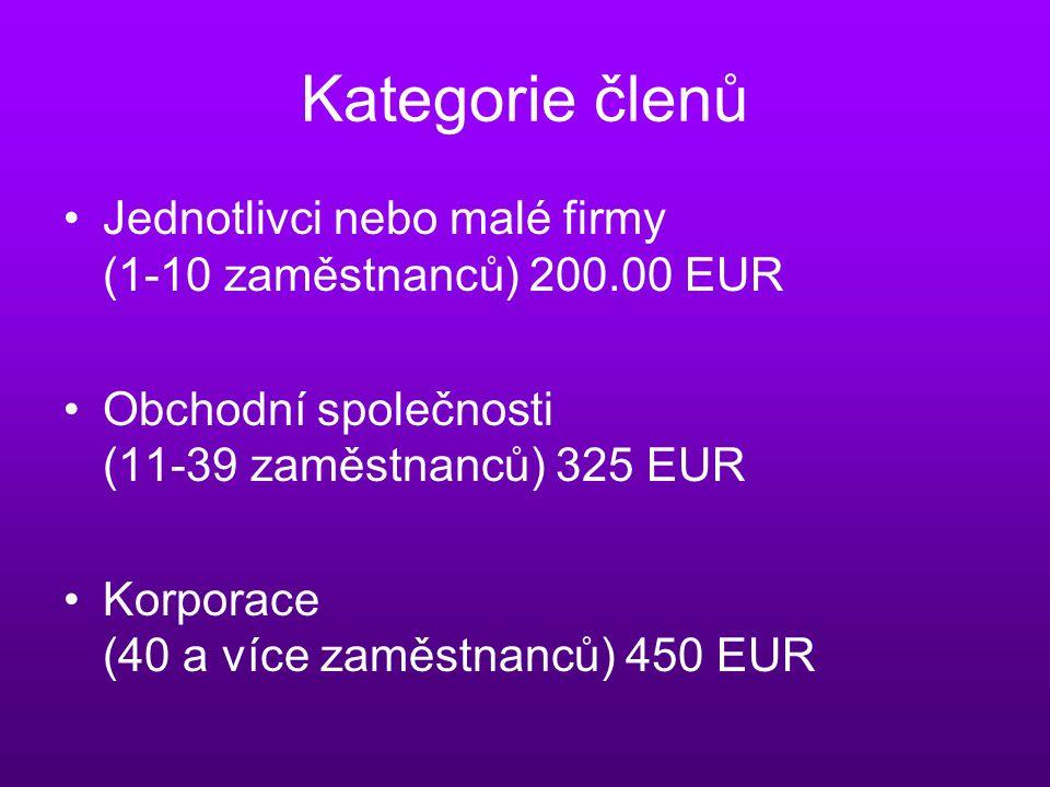 Kategorie členů Jednotlivci nebo malé firmy (1-10 zaměstnanců) 200.00 EUR Obchodní společnosti (11-39 zaměstnanců) 325 EUR Korporace (40 a více zaměstnanců) 450 EUR