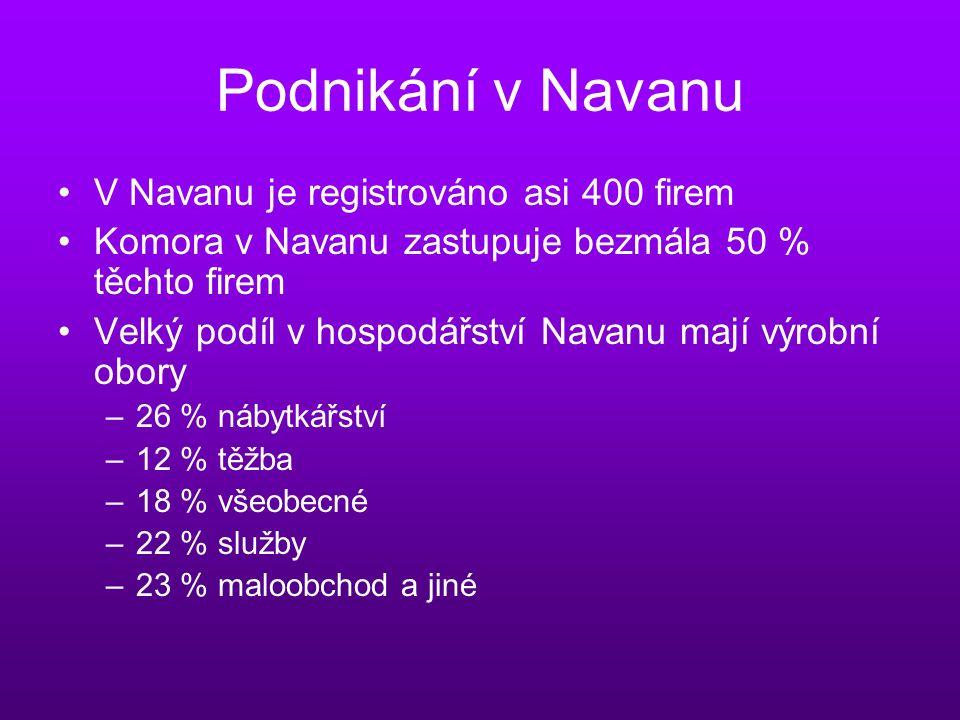 Podnikání v Navanu V Navanu je registrováno asi 400 firem Komora v Navanu zastupuje bezmála 50 % těchto firem Velký podíl v hospodářství Navanu mají výrobní obory –26 % nábytkářství –12 % těžba –18 % všeobecné –22 % služby –23 % maloobchod a jiné