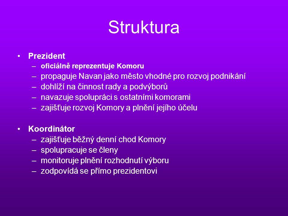 Struktura Prezident –oficiálně reprezentuje Komoru –propaguje Navan jako město vhodné pro rozvoj podnikání –dohlíží na činnost rady a podvýborů –navazuje spolupráci s ostatními komorami –zajišťuje rozvoj Komory a plnění jejího účelu Koordinátor –zajišťuje běžný denní chod Komory –spolupracuje se členy –monitoruje plnění rozhodnutí výboru –zodpovídá se přímo prezidentovi