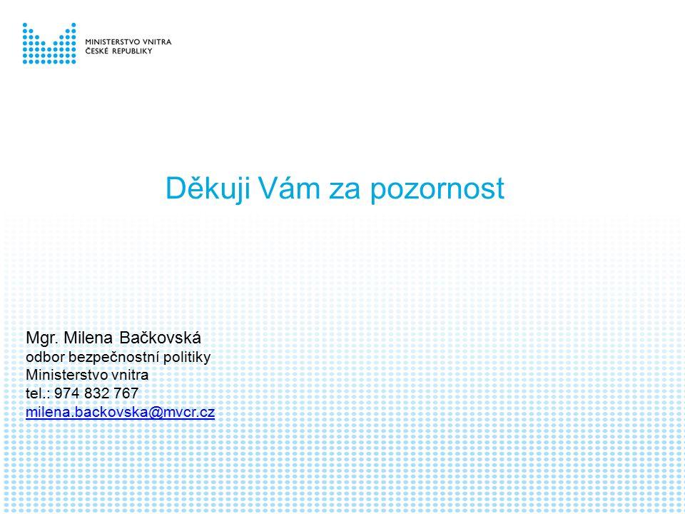 Děkuji Vám za pozornost Mgr. Milena Bačkovská odbor bezpečnostní politiky Ministerstvo vnitra tel.: 974 832 767 milena.backovska@mvcr.cz