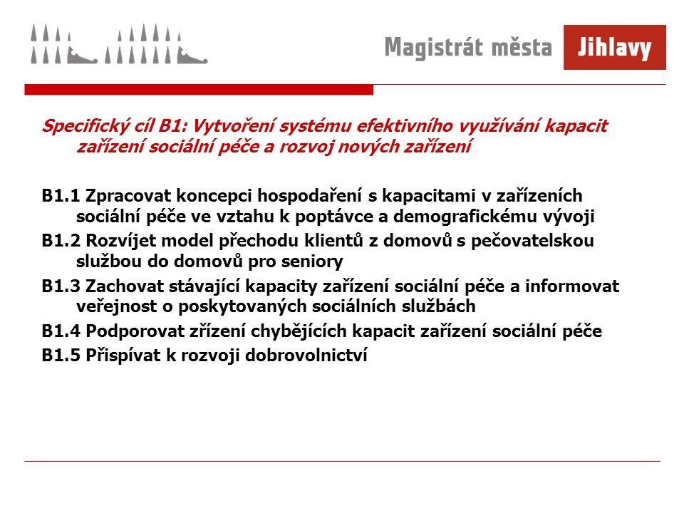 Specifický cíl B1: Vytvoření systému efektivního využívání kapacit zařízení sociální péče a rozvoj nových zařízení B1.1 Zpracovat koncepci hospodaření