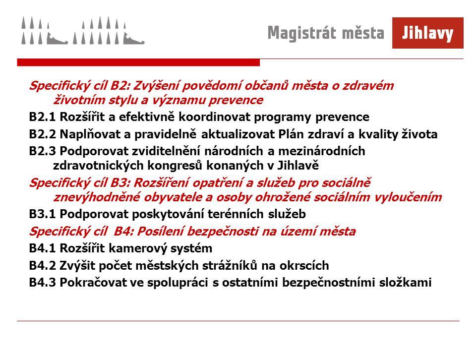 Specifický cíl B2: Zvýšení povědomí občanů města o zdravém životním stylu a významu prevence B2.1 Rozšířit a efektivně koordinovat programy prevence B