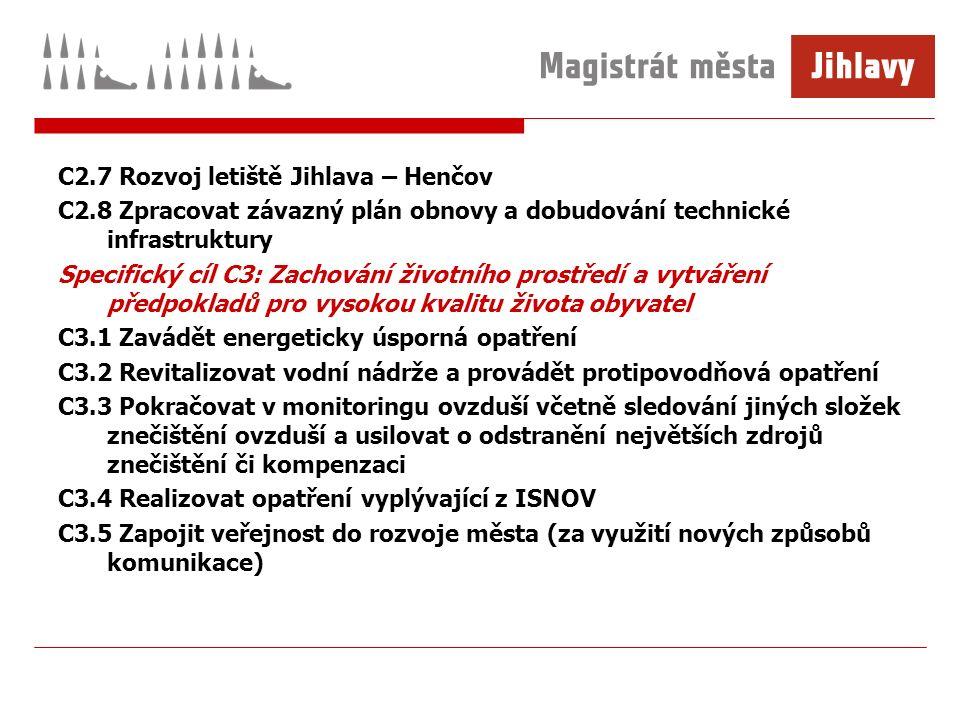 C2.7 Rozvoj letiště Jihlava – Henčov C2.8 Zpracovat závazný plán obnovy a dobudování technické infrastruktury Specifický cíl C3: Zachování životního p