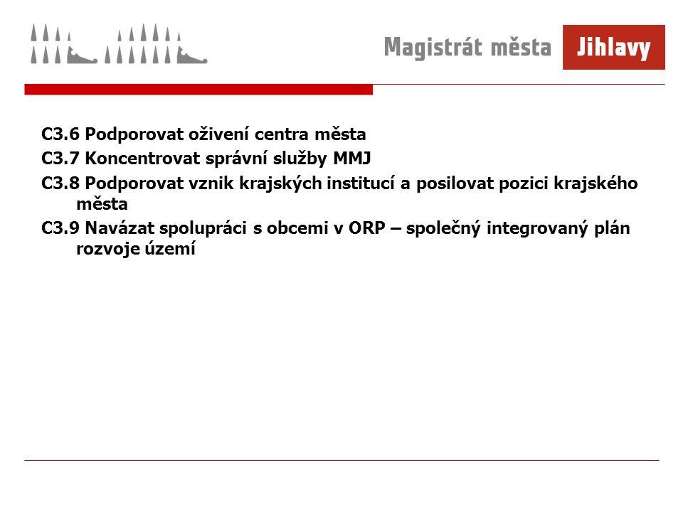 C3.6 Podporovat oživení centra města C3.7 Koncentrovat správní služby MMJ C3.8 Podporovat vznik krajských institucí a posilovat pozici krajského města C3.9 Navázat spolupráci s obcemi v ORP – společný integrovaný plán rozvoje území