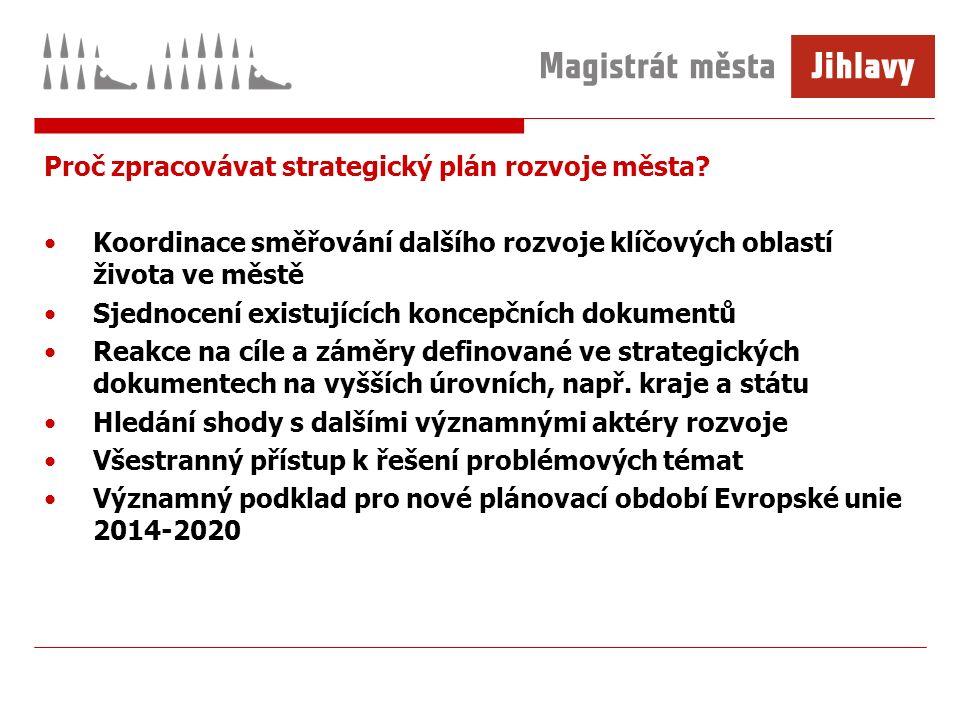 Proč zpracovávat strategický plán rozvoje města? Koordinace směřování dalšího rozvoje klíčových oblastí života ve městě Sjednocení existujících koncep