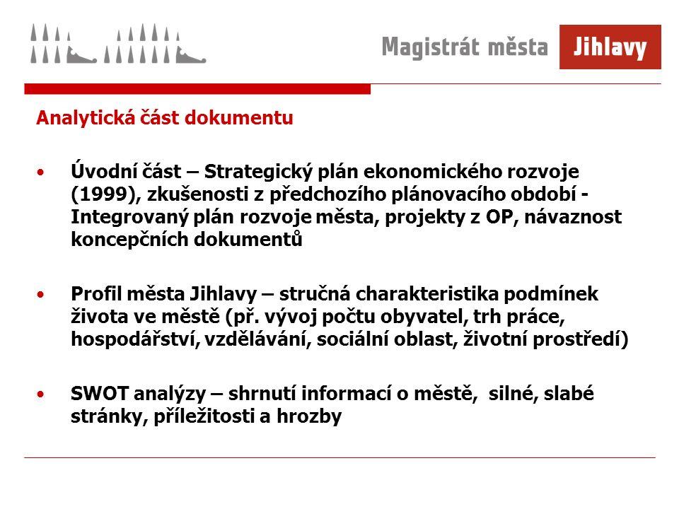 Analytická část dokumentu Úvodní část – Strategický plán ekonomického rozvoje (1999), zkušenosti z předchozího plánovacího období - Integrovaný plán r