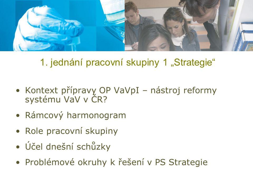 Kontext přípravy OP VaVpI Zpoždění vyjednávání OP VaVpI Nedořešené některé základní koncepční otázky: –obsahové vymezení podpory, indikátory, absorpční kapacita, komunikace s partnery (PS 1 - Strategie) –Financování, udržitelnost investic, způsobilé výdaje, veřejná podpora, projekty generující příjmy (PS 2 - Financování a metodika) –Velké projekty – postup k výběru, forma komunikace s partnery, podpora s přípravou projektů, seznam VP (PS 3 - Velké projekty)