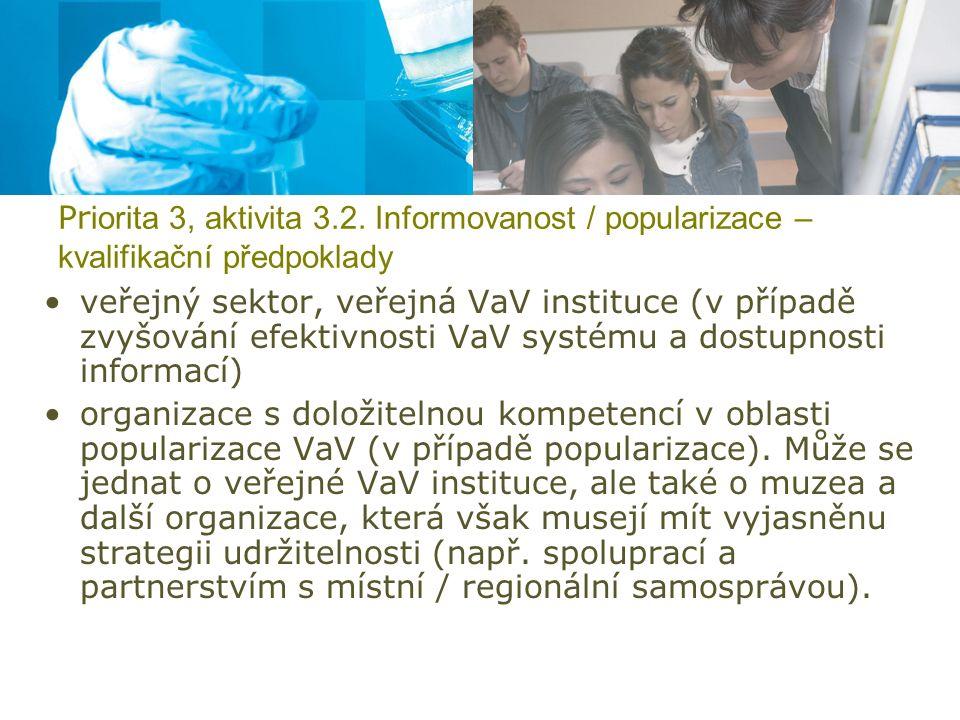 Pr iorita 3, aktivita 3.2. Informovanost / popularizace – kvalifikační předpoklady veřejný sektor, veřejná VaV instituce (v případě zvyšování efektivn