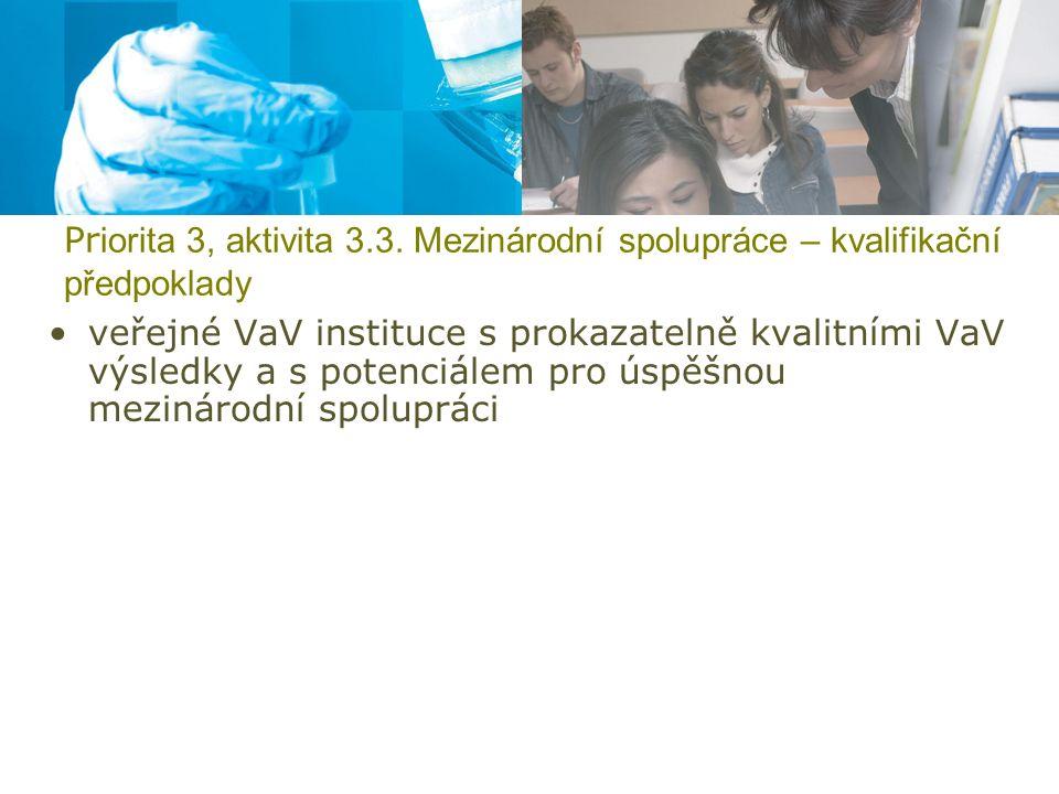 Pr iorita 3, aktivita 3.3. Mezinárodní spolupráce – kvalifikační předpoklady veřejné VaV instituce s prokazatelně kvalitními VaV výsledky a s potenciá