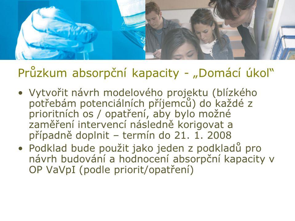 """Průzkum absorpční kapacity - """"Domácí úkol"""" Vytvořit návrh modelového projektu (blízkého potřebám potenciálních příjemců) do každé z prioritních os / o"""
