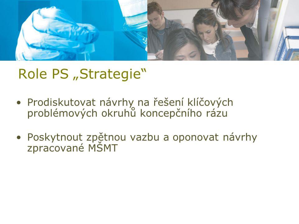 """Role PS """"Strategie Prodiskutovat návrhy na řešení klíčových problémových okruhů koncepčního rázu Poskytnout zpětnou vazbu a oponovat návrhy zpracované MŠMT"""