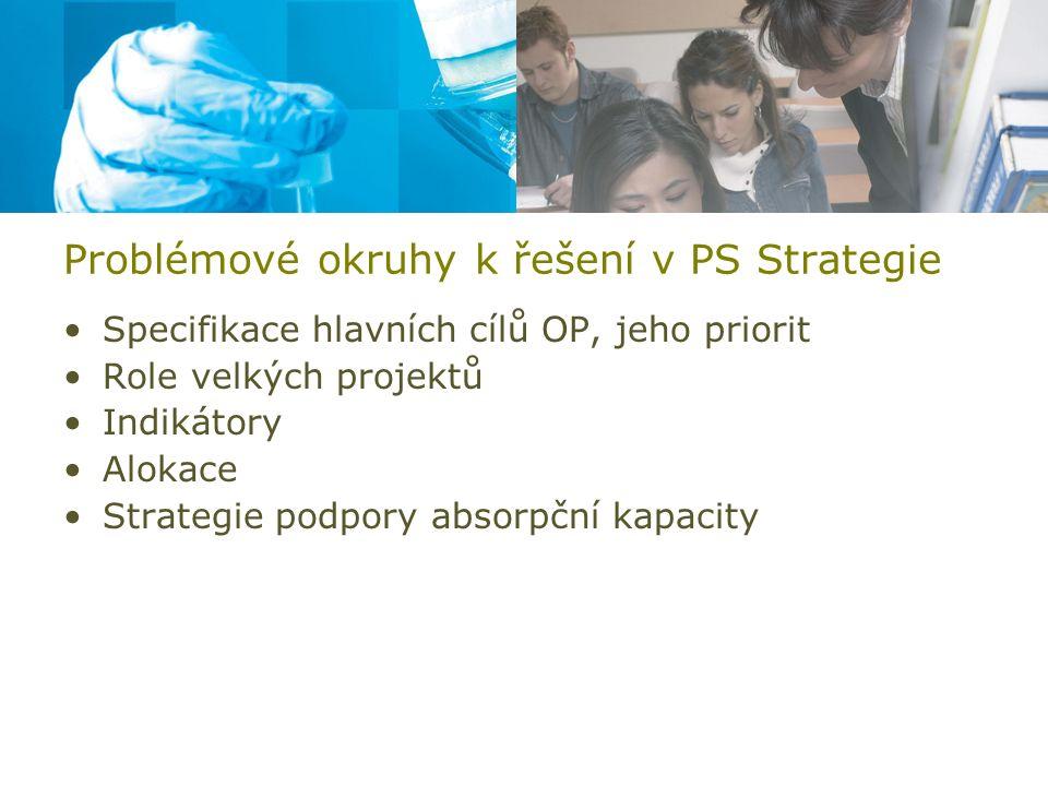 Problémové okruhy k řešení v PS Strategie Specifikace hlavních cílů OP, jeho priorit Role velkých projektů Indikátory Alokace Strategie podpory absorp