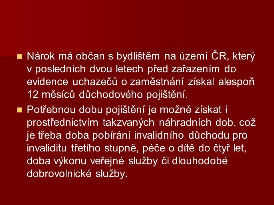 Nárok má občan s bydlištěm na území ČR, který v posledních dvou letech před zařazením do evidence uchazečů o zaměstnání získal alespoň 12 měsíců důchodového pojištění.