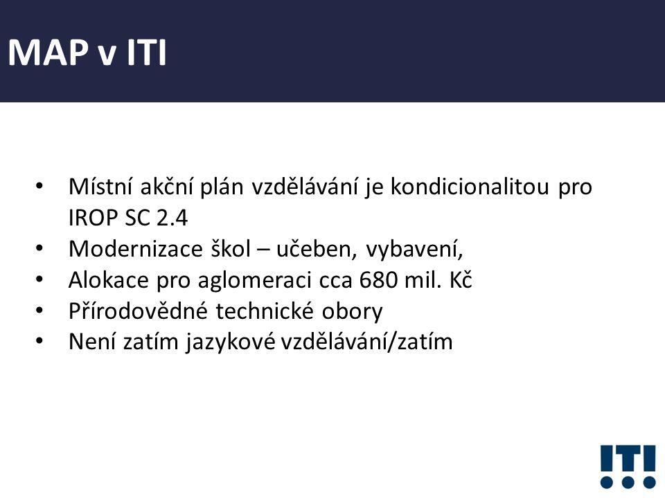 Místní akční plán vzdělávání je kondicionalitou pro IROP SC 2.4 Modernizace škol – učeben, vybavení, Alokace pro aglomeraci cca 680 mil.