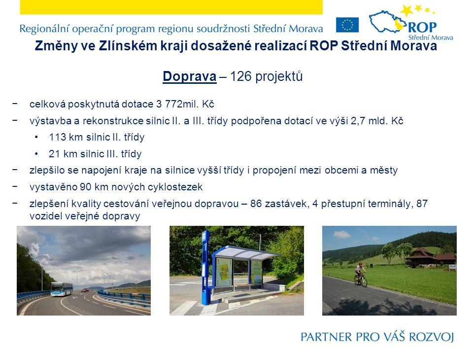 Změny ve Zlínském kraji dosažené realizací ROP Střední Morava Doprava – 126 projektů −celková poskytnutá dotace 3 772mil.