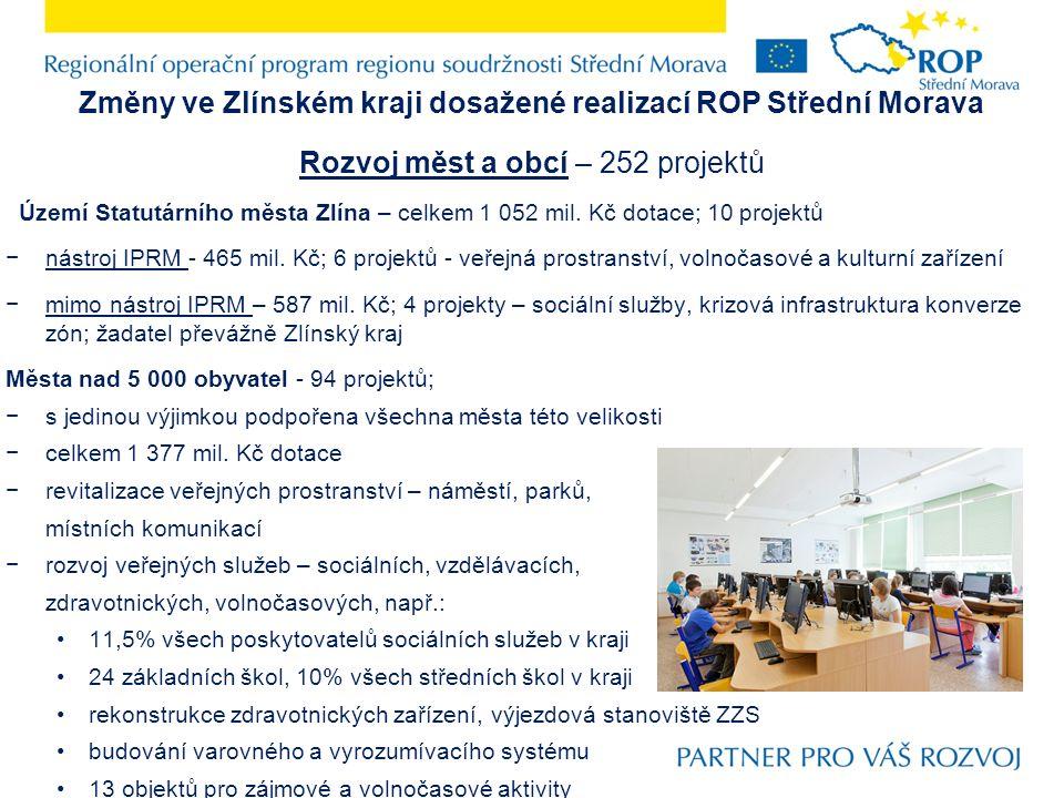 Změny ve Zlínském kraji dosažené realizací ROP Střední Morava Rozvoj měst a obcí – 252 projektů Území Statutárního města Zlína – celkem 1 052 mil.