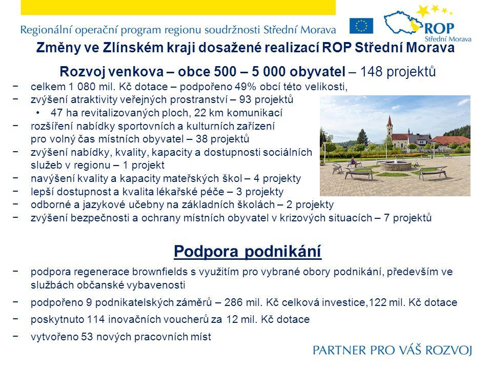 Změny ve Zlínském kraji dosažené realizací ROP Střední Morava Rozvoj venkova – obce 500 – 5 000 obyvatel – 148 projektů −celkem 1 080 mil.