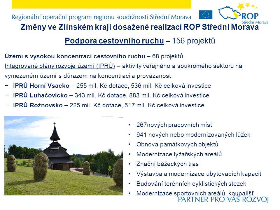 Změny ve Zlínském kraji dosažené realizací ROP Střední Morava Podpora cestovního ruchu – 156 projektů Území s vysokou koncentrací cestovního ruchu – 68 projektů Integrované plány rozvoje území (IPRÚ) – aktivity veřejného a soukromého sektoru na vymezeném území s důrazem na koncentraci a provázanost −IPRÚ Horní Vsacko – 255 mil.