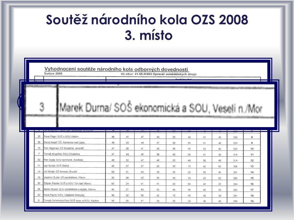 Soutěž národního kola OZS 2008 3. místo