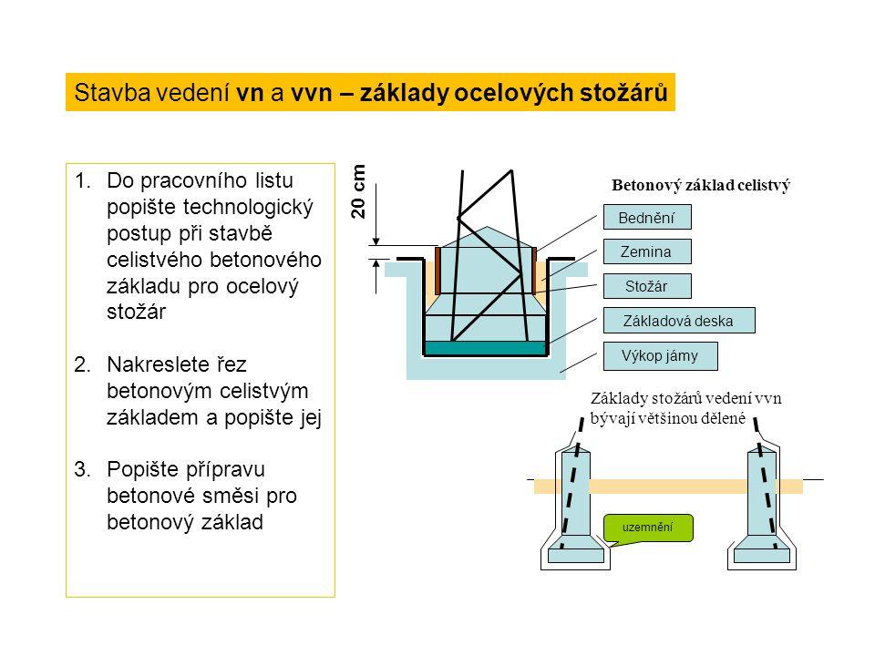 Technologický postup při stavbě vedení - odpovědi Výkop jam pro základy stožárů – mechanizační prostředky, ručně tam, kde jinak nelze Stavba stožárů – ocelové stožáry: celý stožár se smontuje na zemi naležato vedle jámy a pak se postupně vsklápí a zapouští do jámy na betonovou desku (nůžky, kozlík) delší ocelové stožáry: pomocný kloub na zabetonovaném spodním dílu nebo postupná montáž z dílů, někdy vrtulníky krátké a lehké ocelové stožáry: podobně jako stožáry dřevěné – ručně, jeřábem duté betonové stožáry a stožáry dřevěné na betonových patkách se mohou zastřelovat – sloup drží ve svislé poloze na čtyřnožce pak se pod ním odpálí nálož Betonování základů – směs cementu a štěrkopísku v poměru 1:8 až 1:9 nejméně 20 cm nad terén Natažení a montáž vodičů – rozvinování z bubnů nebo kruhů, zavěšení do pomocných kladek, napínání do patřičného průhybu, upevňování na roubíkové izolátory nebo ve svorkách závěsných izolátorových řetězců – podle montážní tabulky Dokončovací práce – číslování stožárů, označování vedení (dvojitá nebo několikanásobná vedení), výstrahy a zábrany na stožárech (bezpečnostní tabulka 1,8 až 2 m od země, příhradové stožáry u cest se musí opatřit ve výšce 2,5 m nad zemí ostnatou překážkou), zemnění stožárů (R<=15W), nátěry Montážní tabulka Teplota °C-20-10-5-5 + z010203040 Rozpětí [m] Namáhání vodiče [MPa] Průhyb vodiče [m] 50 897468906147,5362721 0,1210,1450,1590,5520,1760,2270,300,400,524 55 82,569,562,590554333,525,520,6 0,1580,1880,2090,6670,2370,3030,390,5120,633