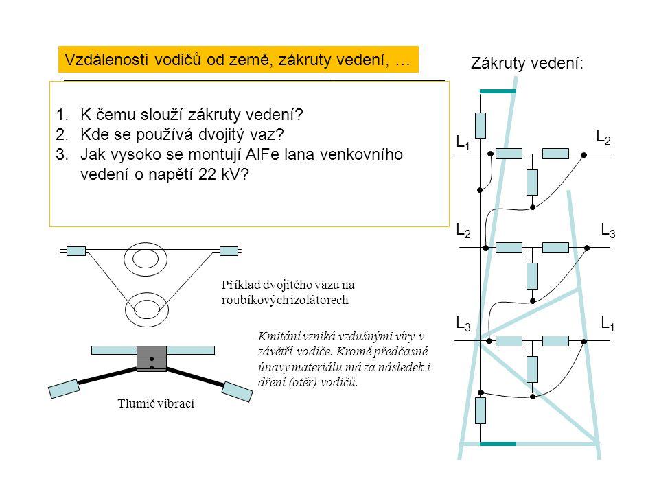 Vzdálenosti vodičů od země, zákruty vedení, … Jmenovité napětí [kV]Vzdálenost [m] do 1 (kromě vedení nad zemědělskými plochami) Do 1 (nad zemědělskými plochami) 10 až 110 220 400 5667856678 Příklad dvojitého vazu na roubíkových izolátorech Tlumič vibrací Zákruty vedení: L1L1 L2L2 L3L3 L2L2 L3L3 L1L1 Kmitání vzniká vzdušnými víry v závětří vodiče.