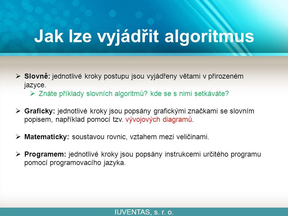 Algoritmizace IUVENTAS, s.r. o. Algoritmizace = proces vytváření a sestavování algoritmů.