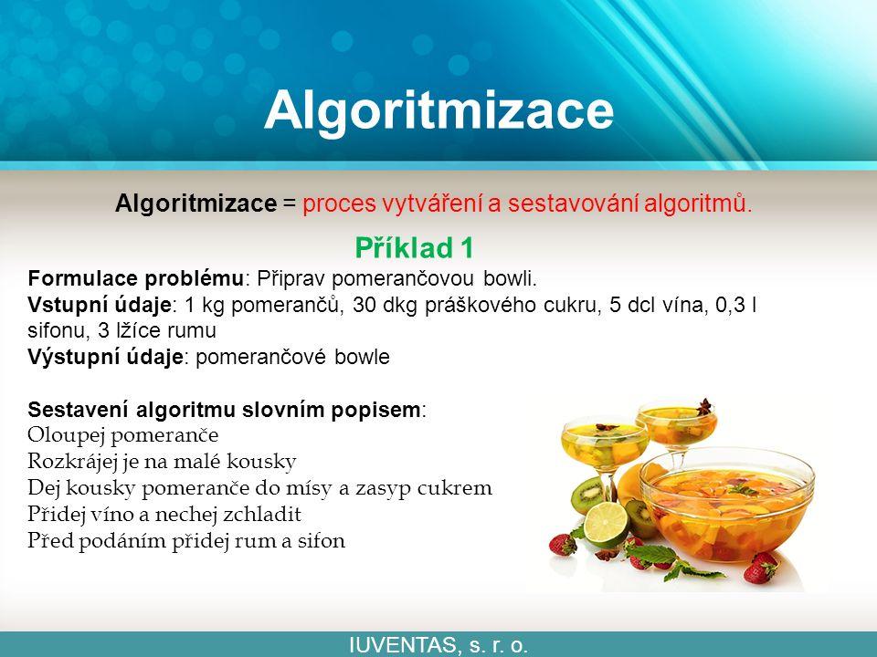 Algoritmizace IUVENTAS, s. r. o. Algoritmizace = proces vytváření a sestavování algoritmů.