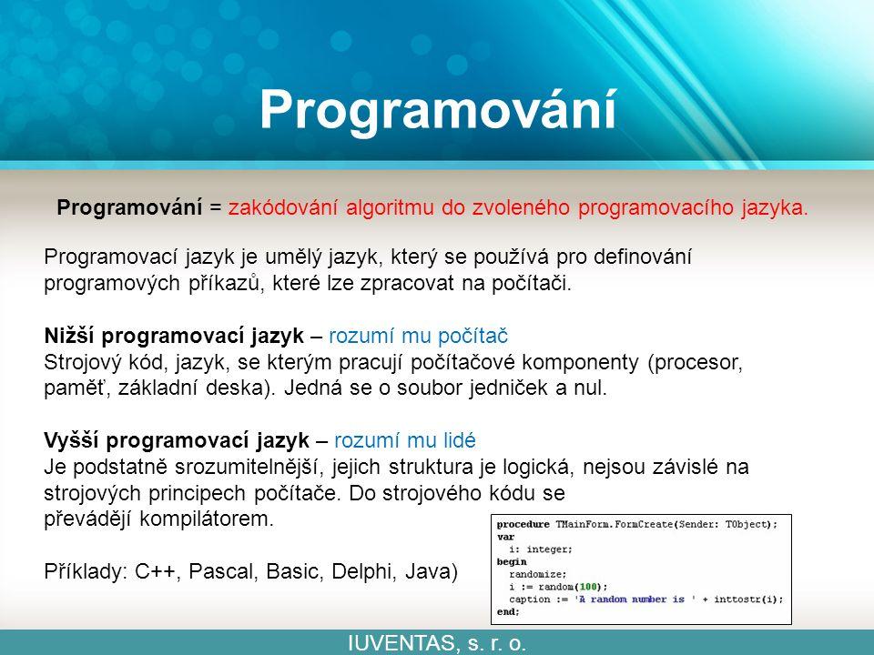 Programování IUVENTAS, s.r. o. Otevři si online programovací editor Scratch.