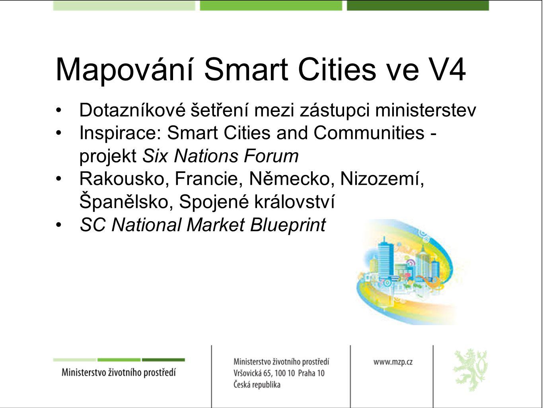 Mapování Smart Cities ve V4 Dotazníkové šetření mezi zástupci ministerstev Inspirace: Smart Cities and Communities - projekt Six Nations Forum Rakousko, Francie, Německo, Nizozemí, Španělsko, Spojené království SC National Market Blueprint