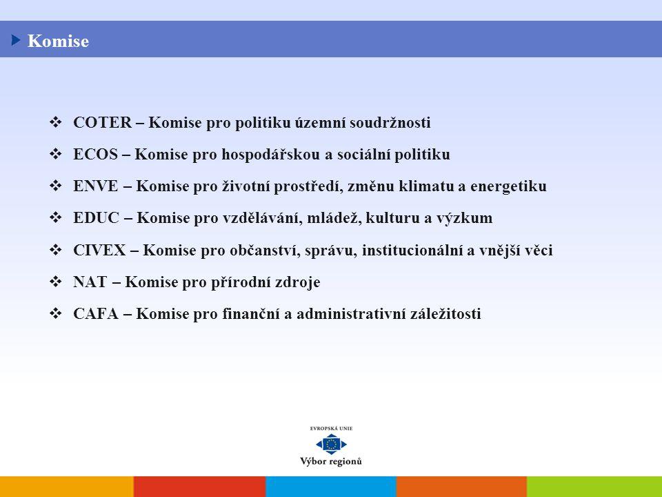  COTER – Komise pro politiku územní soudržnosti  ECOS – Komise pro hospodářskou a sociální politiku  ENVE – Komise pro životní prostředí, změnu klimatu a energetiku  EDUC – Komise pro vzdělávání, mládež, kulturu a výzkum  CIVEX – Komise pro občanství, správu, institucionální a vnější věci  NAT – Komise pro přírodní zdroje  CAFA – Komise pro finanční a administrativní záležitosti Komise