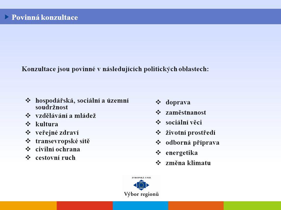  hospodářská, sociální a územní soudržnost  vzdělávání a mládež  kultura  veřejné zdraví  transevropské sítě  civilní ochrana  cestovní ruch  doprava  zaměstnanost  sociální věci  životní prostředí  odborná příprava  energetika  změna klimatu Konzultace jsou povinné v následujících politických oblastech: Povinná konzultace