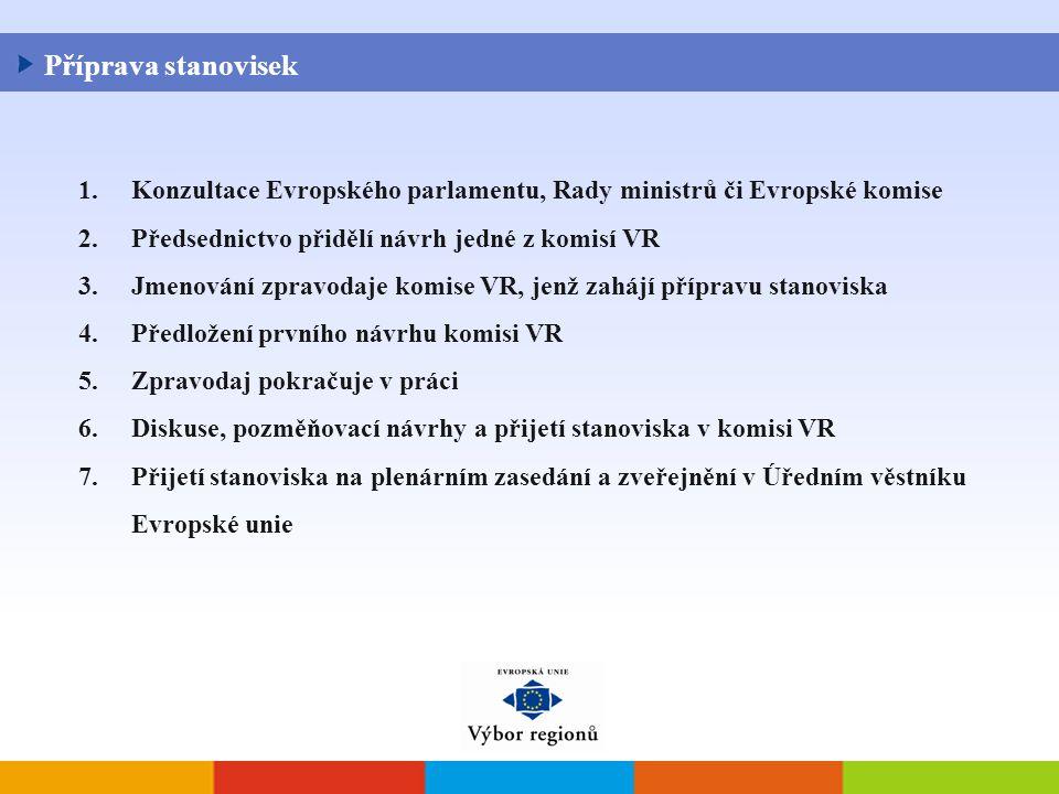 1.Konzultace Evropského parlamentu, Rady ministrů či Evropské komise 2.Předsednictvo přidělí návrh jedné z komisí VR 3.Jmenování zpravodaje komise VR, jenž zahájí přípravu stanoviska 4.Předložení prvního návrhu komisi VR 5.Zpravodaj pokračuje v práci 6.Diskuse, pozměňovací návrhy a přijetí stanoviska v komisi VR 7.Přijetí stanoviska na plenárním zasedání a zveřejnění v Úředním věstníku Evropské unie Příprava stanovisek