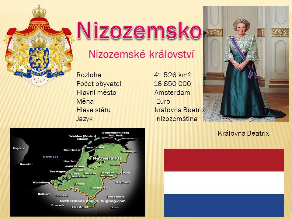Rozloha 41 526 km² Počet obyvatel 16 850 000 Hlavní město Amsterdam Měna Euro Hlava státu královna Beatrix Jazyk nizozemština Královna Beatrix Nizozemské království