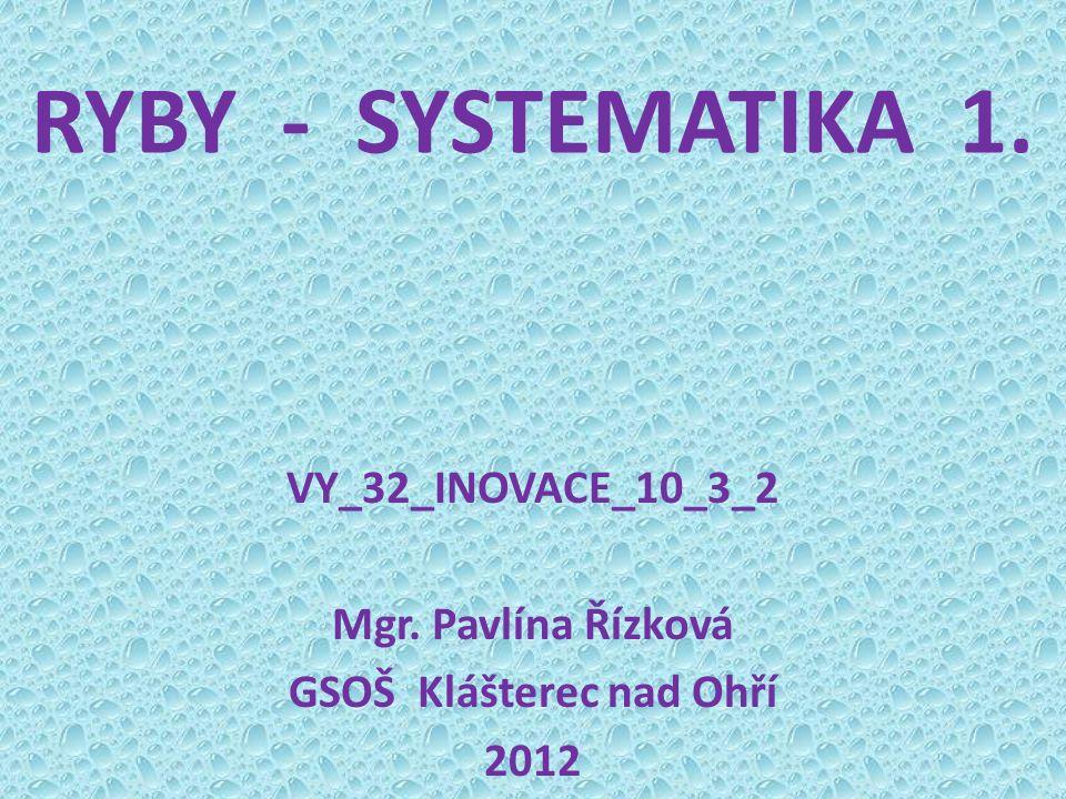 RYBY - SYSTEMATIKA 1. VY_32_INOVACE_10_3_2 Mgr. Pavlína Řízková GSOŠ Klášterec nad Ohří 2012