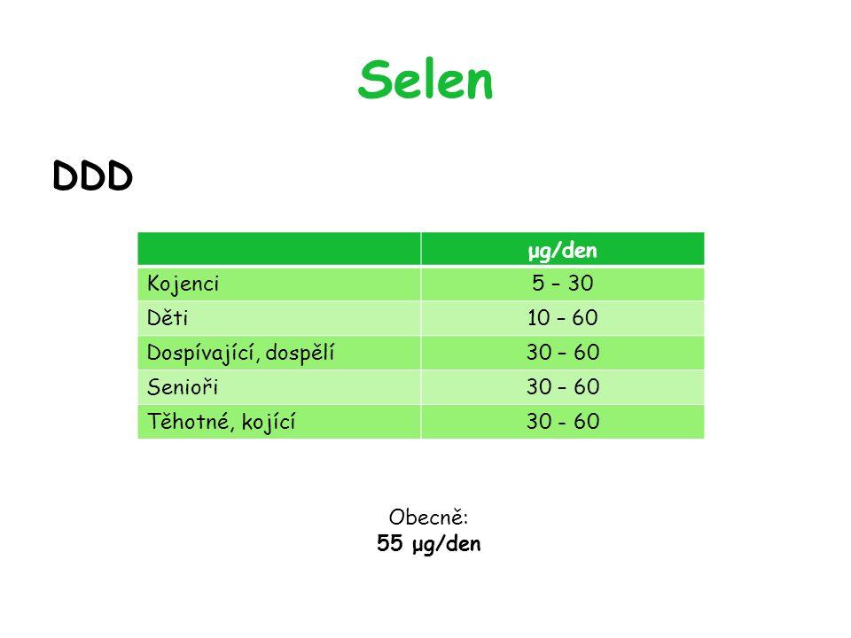 Selen DDD μg/den Kojenci5 – 30 Děti10 – 60 Dospívající, dospělí30 – 60 Senioři30 – 60 Těhotné, kojící30 - 60 Obecně: 55 μg/den