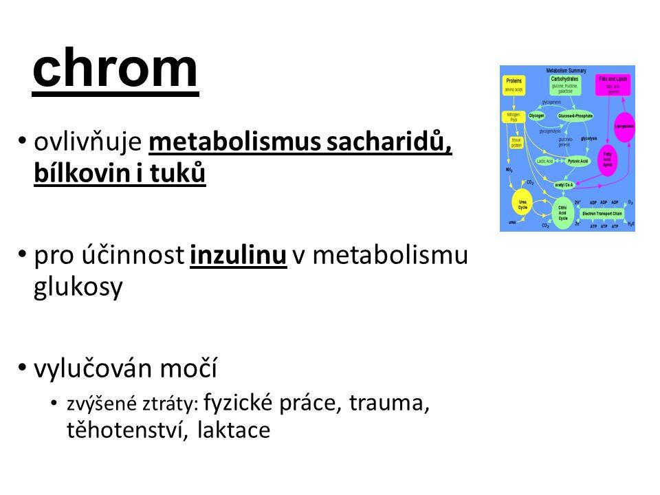 chrom ovlivňuje metabolismus sacharidů, bílkovin i tuků pro účinnost inzulinu v metabolismu glukosy vylučován močí zvýšené ztráty: fyzické práce, trauma, těhotenství, laktace