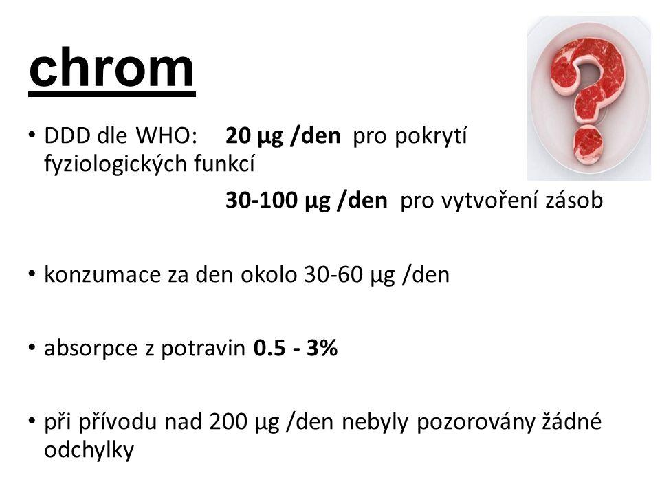 chrom DDD dle WHO: 20 µg /den pro pokrytí fyziologických funkcí 30-100 µg /den pro vytvoření zásob konzumace za den okolo 30-60 µg /den absorpce z potravin 0.5 - 3% při přívodu nad 200 µg /den nebyly pozorovány žádné odchylky