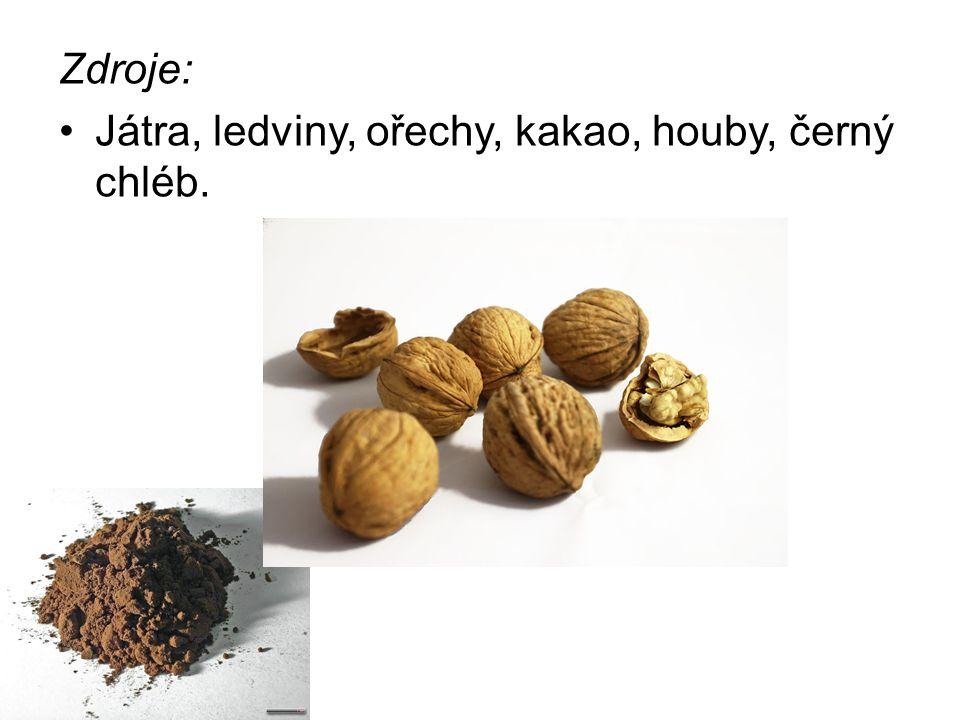 Zdroje: Játra, ledviny, ořechy, kakao, houby, černý chléb.
