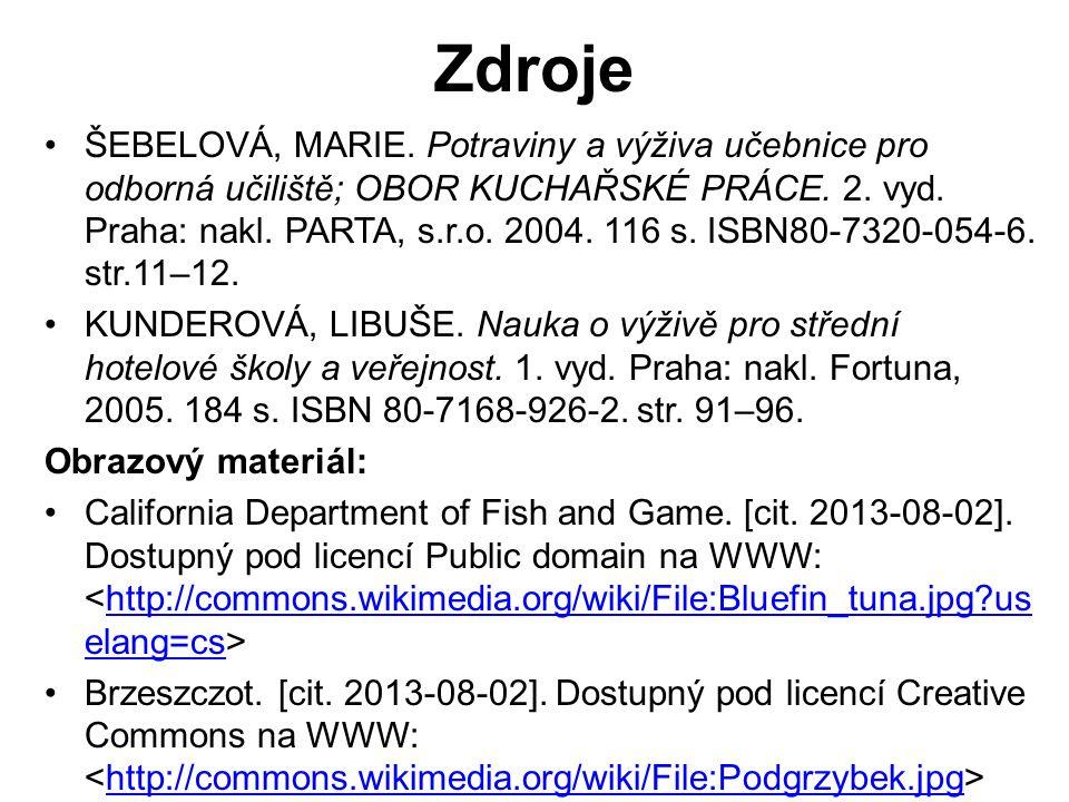 ŠEBELOVÁ, MARIE. Potraviny a výživa učebnice pro odborná učiliště; OBOR KUCHAŘSKÉ PRÁCE.
