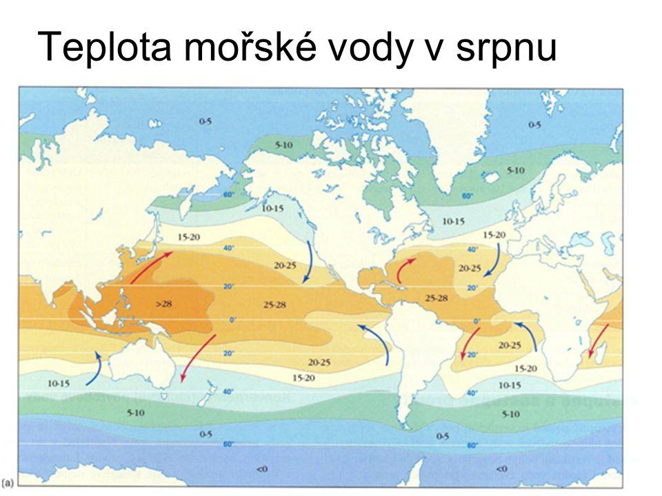 Teplota mořské vody v srpnu