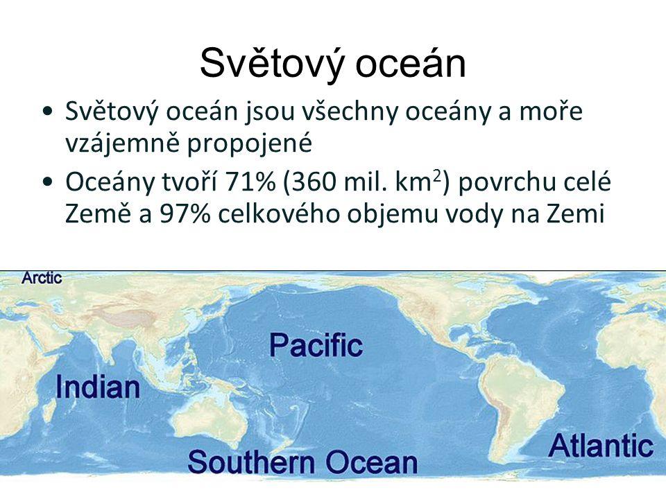 Světový oceán Světový oceán jsou všechny oceány a moře vzájemně propojené Oceány tvoří 71% (360 mil.