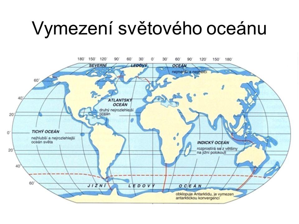 část oceánů v dosahu kontinentů - velká plocha slané či brakické vody spojená se světovým oceánem 1.vnitřní (středozemní) – např.