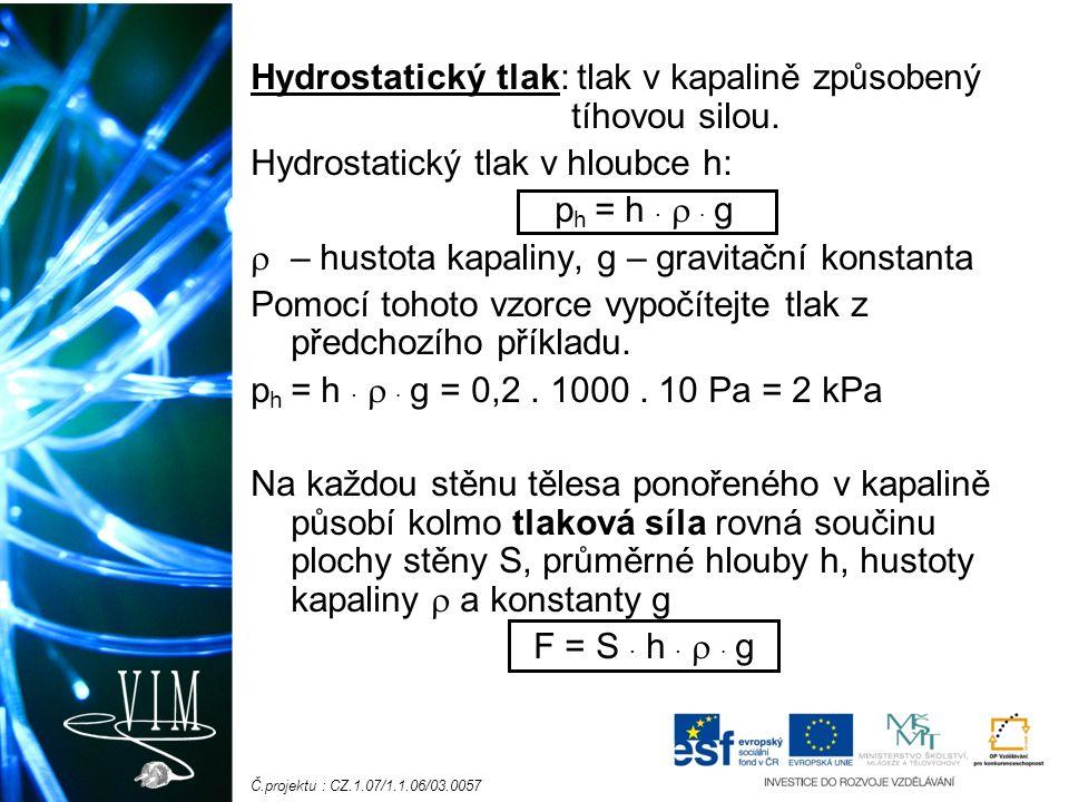 Č.projektu : CZ.1.07/1.1.06/03.0057 Hydrostatický tlak: tlak v kapalině způsobený tíhovou silou.