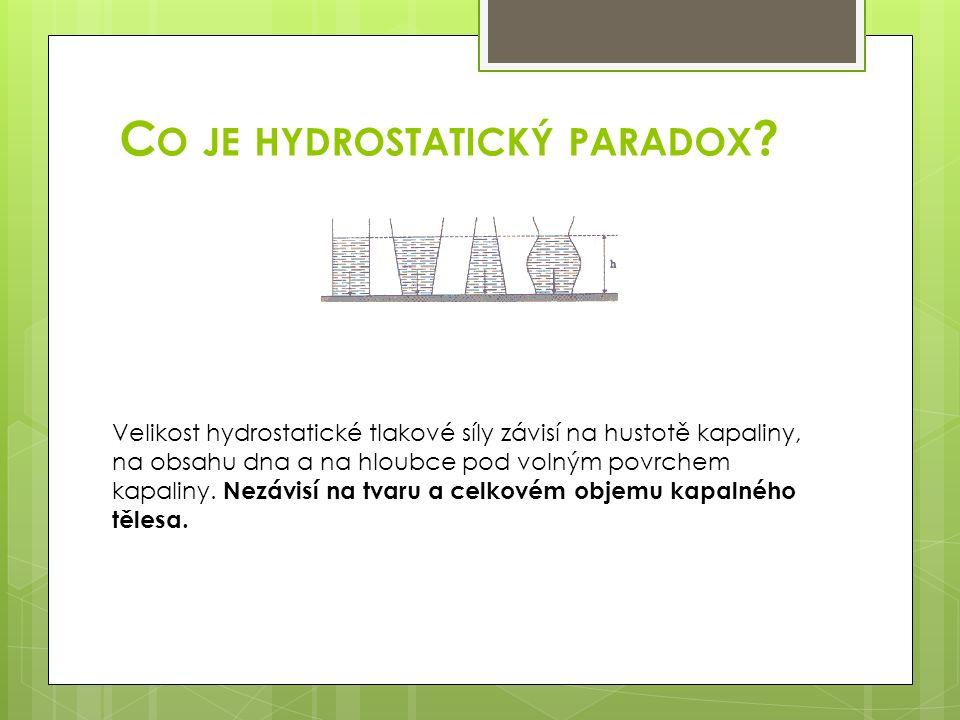 C O JE HYDROSTATICKÝ PARADOX ? Velikost hydrostatické tlakové síly závisí na hustotě kapaliny, na obsahu dna a na hloubce pod volným povrchem kapaliny