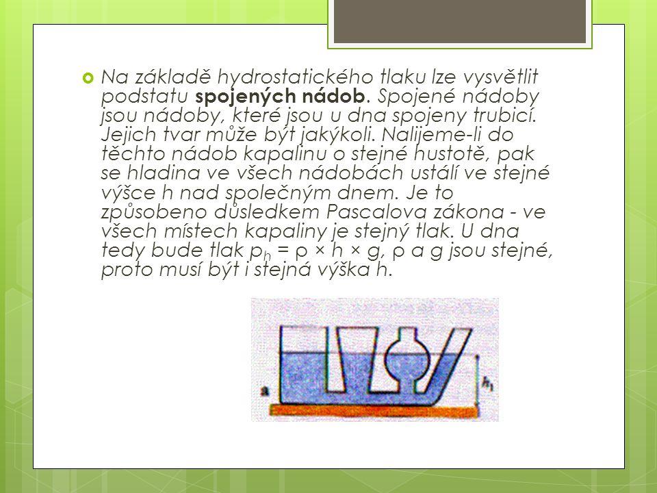 NNa základě hydrostatického tlaku lze vysvětlit podstatu spojených nádob.