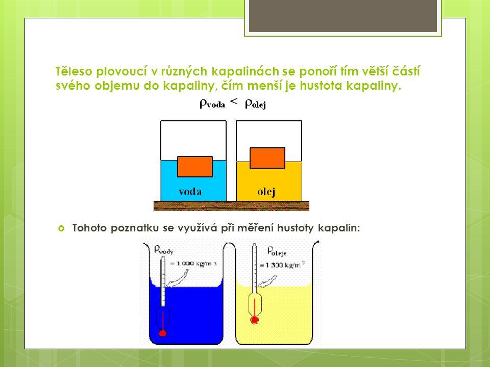 Těleso plovoucí v různých kapalinách se ponoří tím větší částí svého objemu do kapaliny, čím menší je hustota kapaliny.  Tohoto poznatku se využívá p